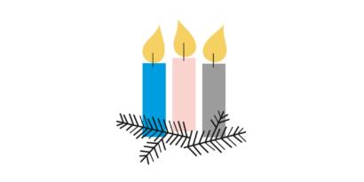 Bilden är en illustration av tre ljus, ett blått, ett rosa och ett grått.