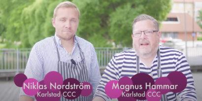 Kockarna Niklas och Magnus vid grillen